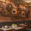 Дизайн ресторана в стиле стимпанк. Интерьер зала первого этажа. Панно