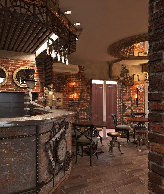 Дизайн ресторана в стиле стимпанк. Интерьер зала первого этажа. Первый вариант барной стойки