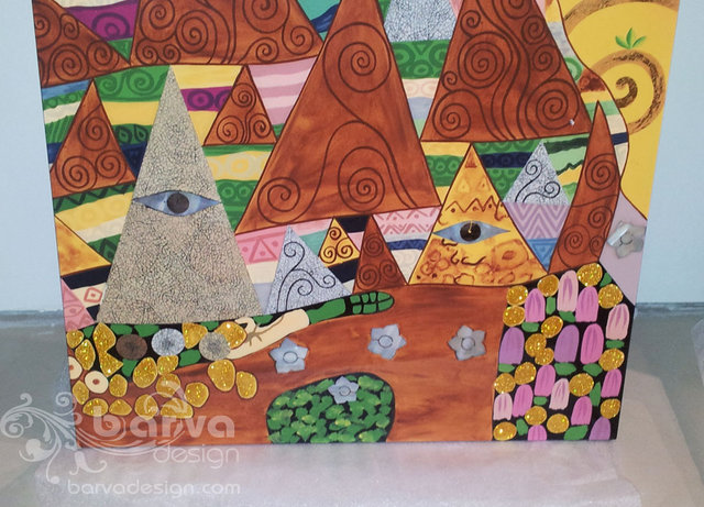 Лаковые картины по мотивам работ Климта. Фрагмент декора. Квартира в стиле арт-деко