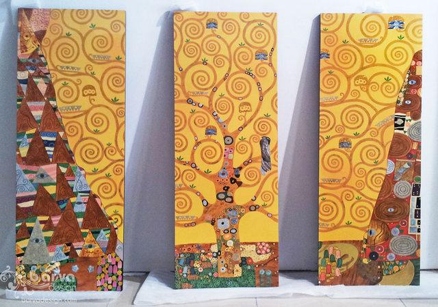 Лаковые картины по мотивам работ Климта. Триптих декоров. Квартира в стиле арт-деко