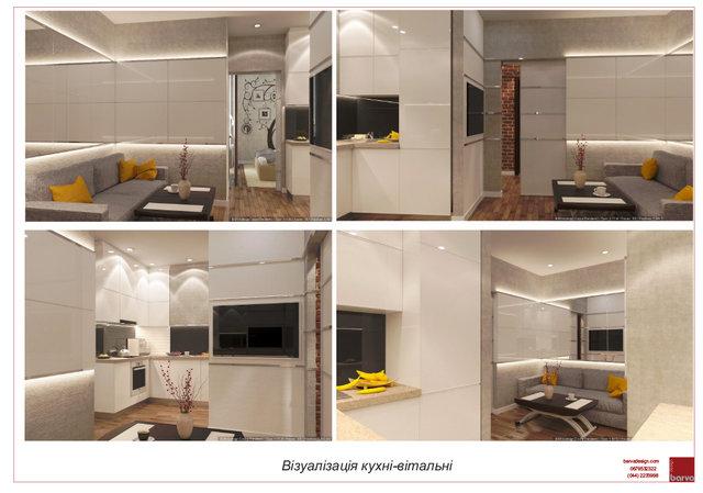 22 3D Візуалізація вітальні-кухні