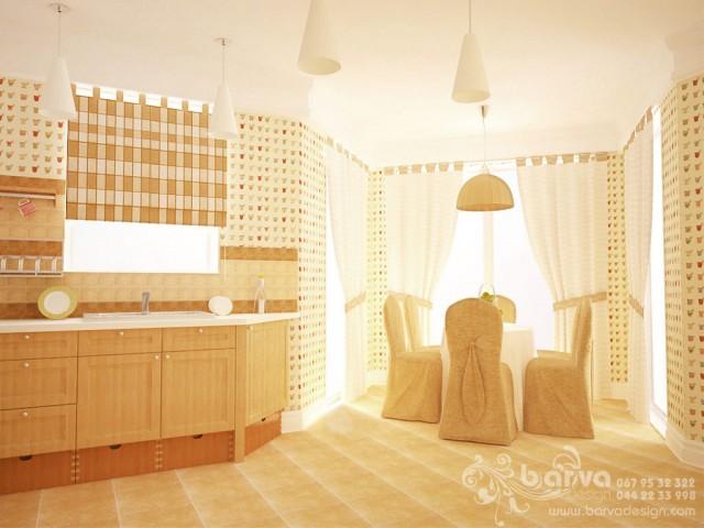 Дизайн кухни-столовой. Дом в стиле кантри в с.Горбовичи