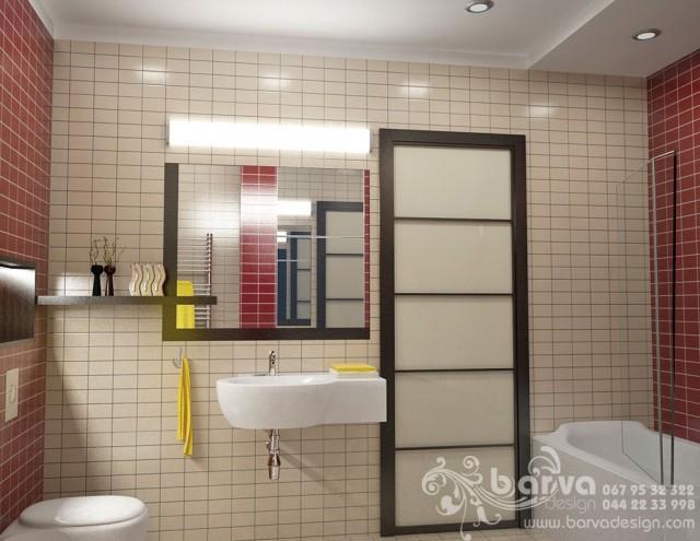 Дизайн основного санузла в квартире на ул.Ломоносова. Яркий интерьер