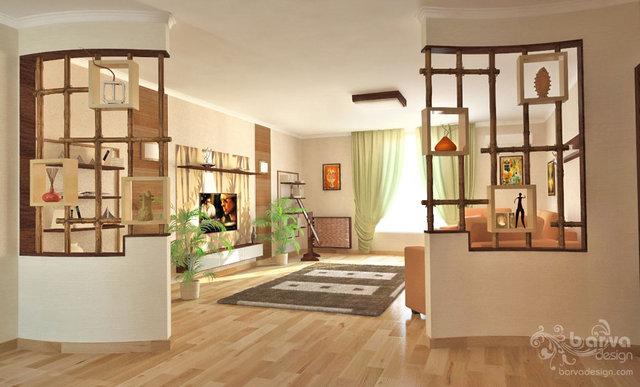 Дизайн детской. Декорирование ниш, бамбуковые перегородки, второй вариант