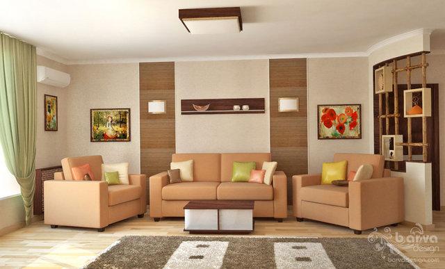 Дизайн гостиной-детской. Вид на зону отдыха.  второй вариант