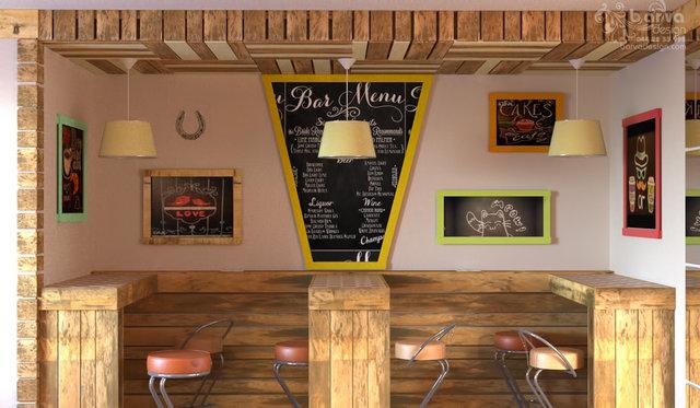 Дизайн интерьера кафетерия. Мебель из поддонов