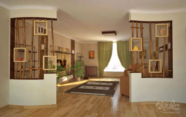 Дизайн дитячої. Декорування ніш, бамбукові перегородки, третій варіант