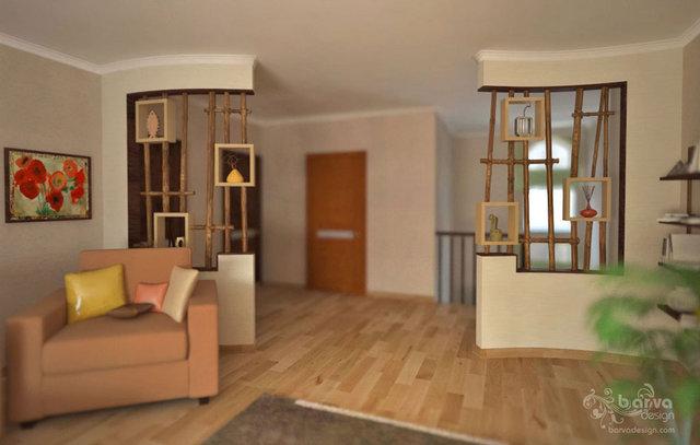 Дизайн детской. Декорирование ниш, бамбуковые перегородки, третий вариант