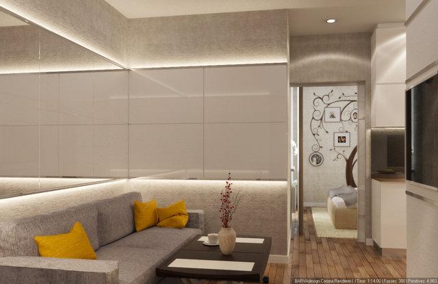 3-к квартира на Героїв Севастополя. Дизайн кухні-вітальні