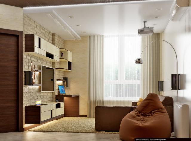 "1-к квартира в ЖК ""ПаркЛенд"". Дизайн вітальні"
