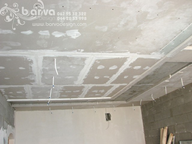 Монтаж многоярусных подвесных потолков