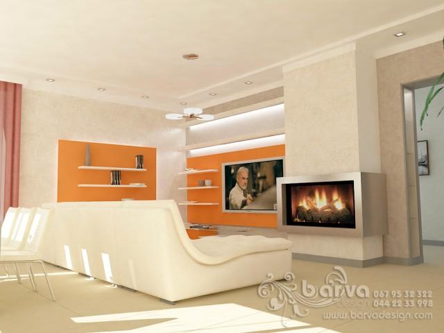 Дизайн гостиной в доме с.Коцюбинкое