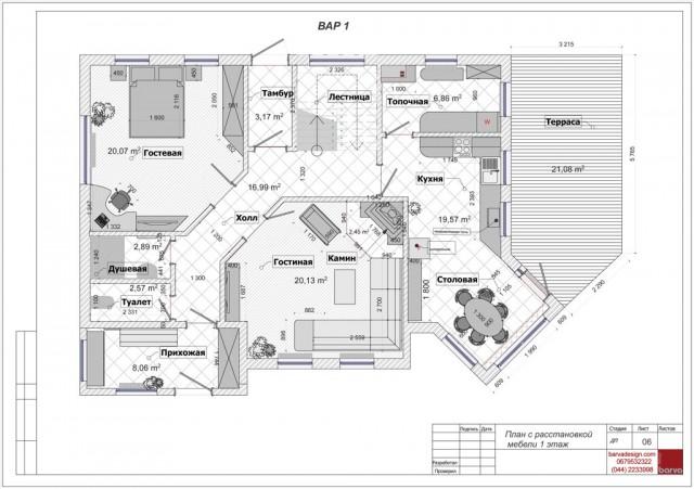 План 1 этажа с расстановкой мебели после перепланировки. Дом в стиле кантри в с.Горбовичи