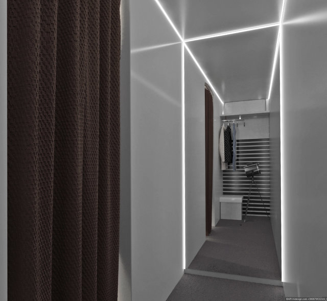 Дизайн інтер'єру фотостудії у вигляді салону приватного літака, роздягалка