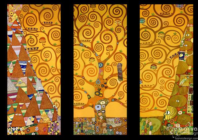 Ескіз декорів по мотивам робіт Клімта. Автор Синенко Яніна. Квартира в стиля арт-деко