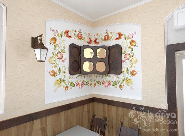 """Дизайн кафе в украинском стиле.  Расписная ниша с  """"окошком """" ."""