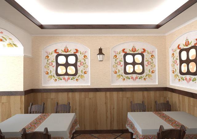 """Дизайн кафе в украинском стиле.  Расписные ниши с  """"окошками """" ."""
