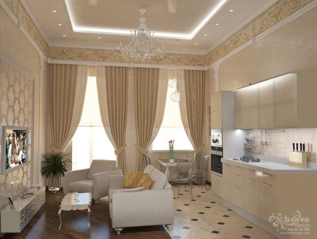 2-ярусна квартира на Саксаганського. Дизайн вітальні-кухні