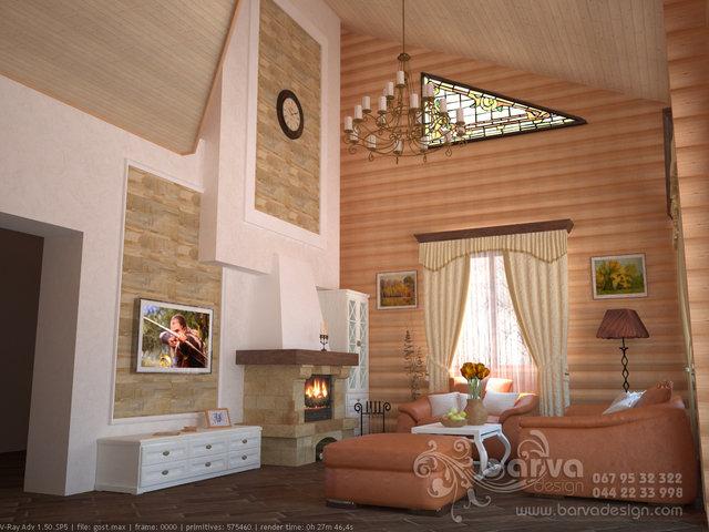 Гостиная в деревянном доме в стиле