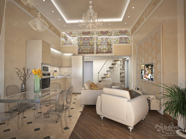 Дизайн вітальні в двох'ярусній квартирі по вул.Саксаганського