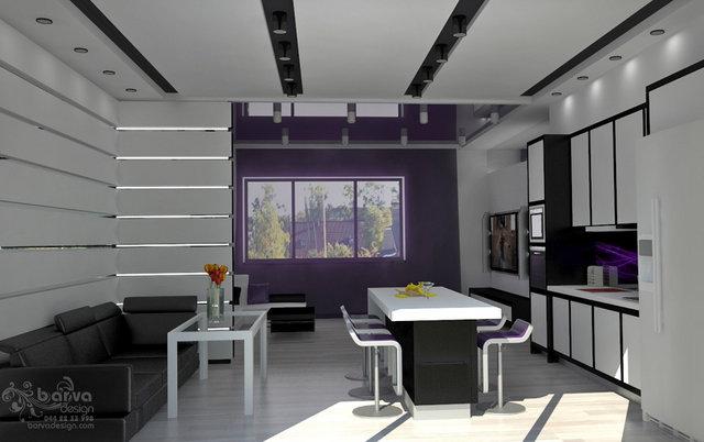 Дизайн кухни-гостиной с островом в доме с.Старые Петровцы
