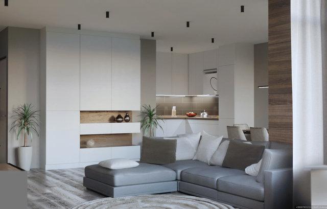 """Дизайн квартири в ЖК """"Галактика"""". Кухня-вітальня"""