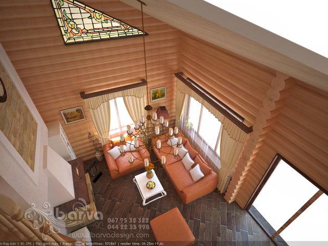 Гостиная в деревянном доме в стиле прованс. с. Хотив