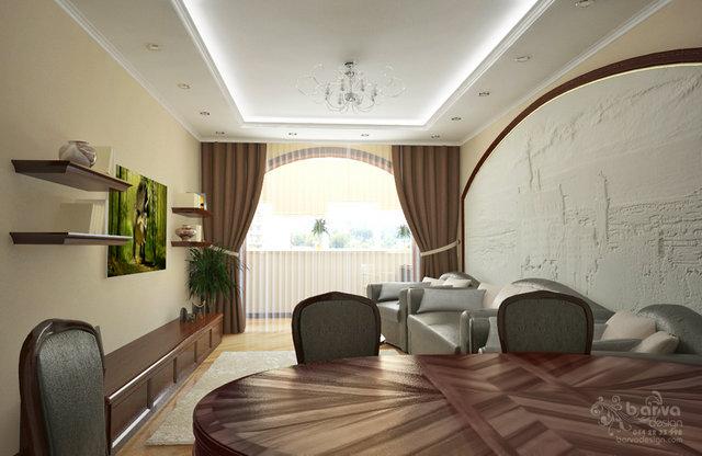 Дизайн гостиной в современном классическом интерьере