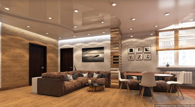 """Дизайн гостиной-кухни в 3к-квартире ЖК """"Сонячна Брама"""""""