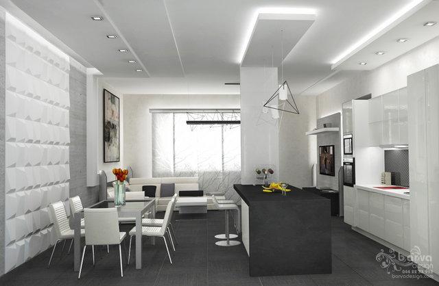 Дизайн гостиной-кухни в доме с.Старые Петровцы