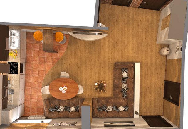 """Дизайн пола в кухне-гостиной в 3к-квартире ЖК """"Сонячна Брама"""""""