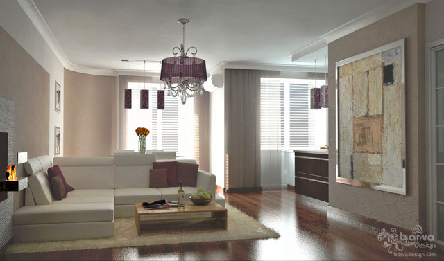 "Вариант дизайна гостиной в стиле минимализма. Квартира в ЖМ ""Чайка"""