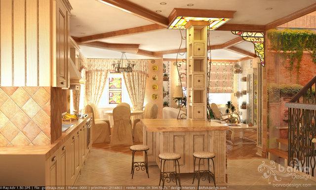 Дизайн гостиной-кухни-столовой в стиле прованс.2 этаж таунхауса в п.Томилино
