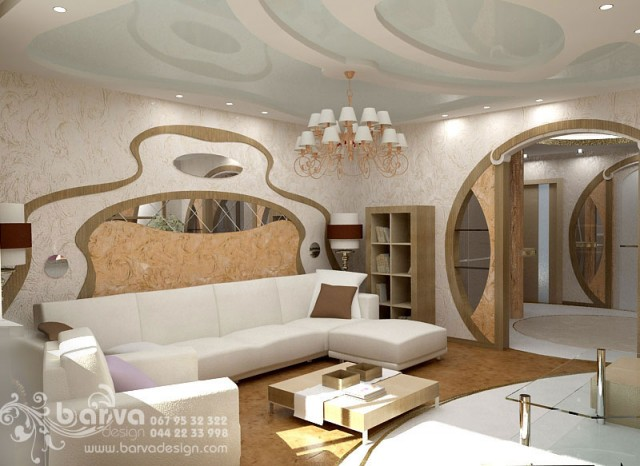 Вариант дизайна гостиной. Квартира в стиле эклектичного модерна на пр.Бажана
