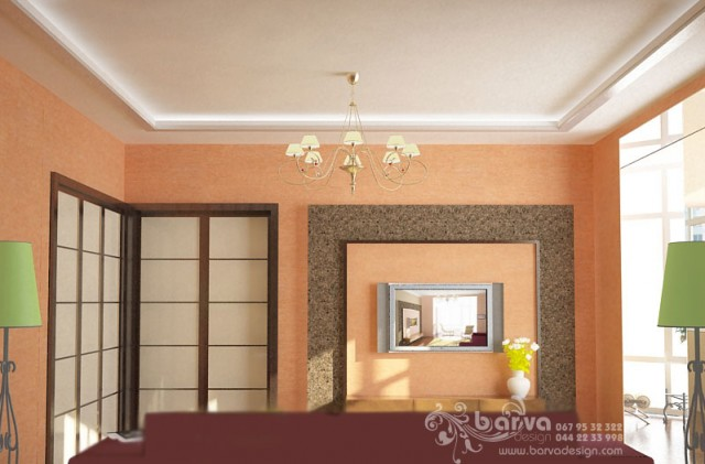 Дизайн гостиной в квартире на ул.Ломоносова. Яркий интерьер