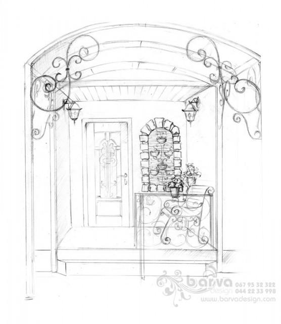 Эскиз дизайна крыльца в доме в с.Крюковщина