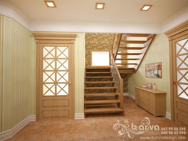 Дизайн лестницы и холла 1 этаж. Дом в стиле кантри в с.Горбовичи