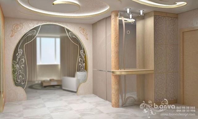 Вариант дизайна холла. Квартира в стиле эклектичного модерна на пр.Бажана