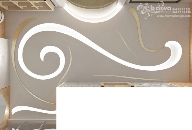 Дизайн потолка в холле. Квартира в стиле эклектичного модерна на пр.Бажана