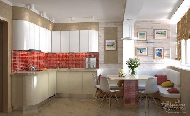 Дизайн кухні в 3-к квартирі на Оболоні