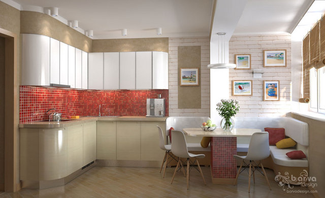 Дизайн кухни в 3-к квартире на Оболони