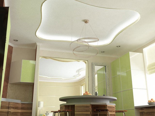 Дизайн потолка кухни в доме с.Гореничи