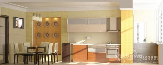 Дизайн кухни-столовой в квартире на ул.Ломоносова. Яркий интерьер