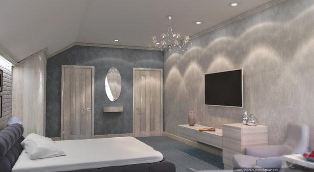 Дизайн інтер'єру готелю. Гостьовий номер мансардного поверху
