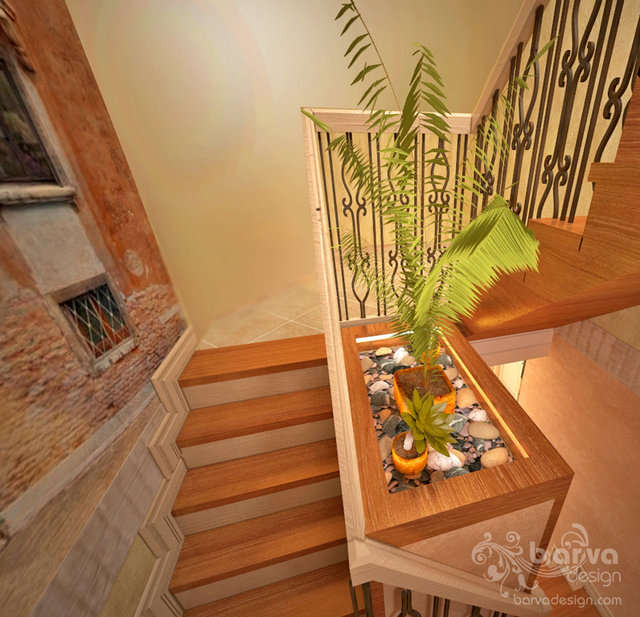 Дизайн лестницы в стиле прованс. 1 этаж таунхауса в п.Томилино