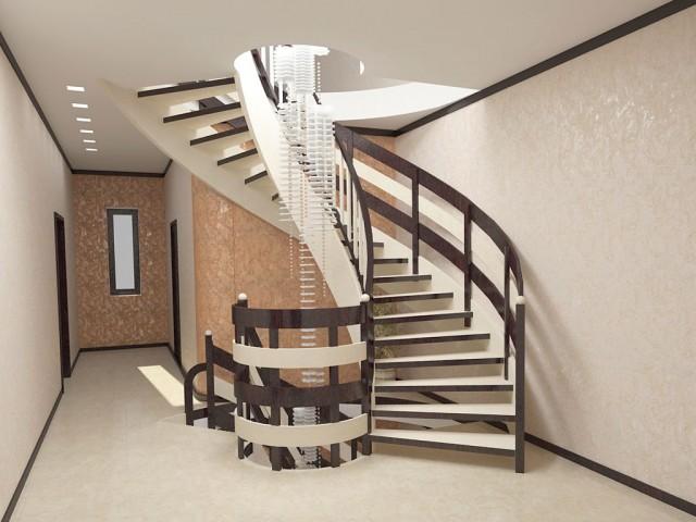 Дизайн напівгвинтових сходів в котеджу на Борщагівці