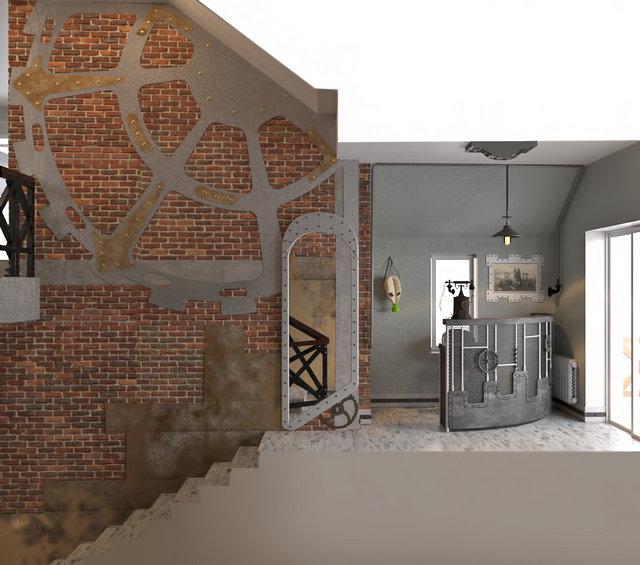 Дизайн ресторана в стиле стимпанк. Холл и лестница
