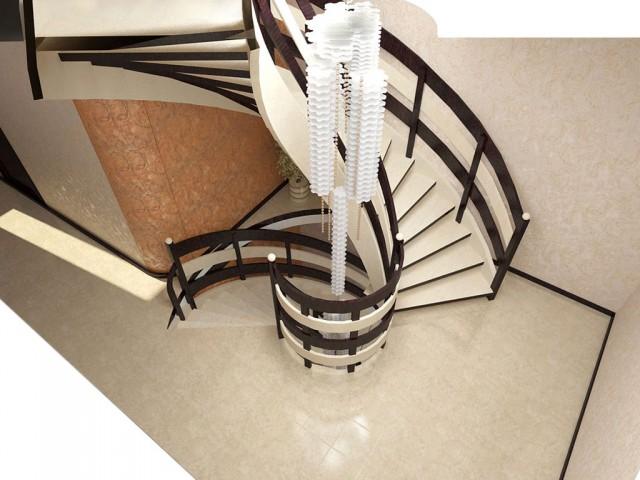 Дизайн полувинтовой лестницы в прихожей. Коттедж в Борщаговке