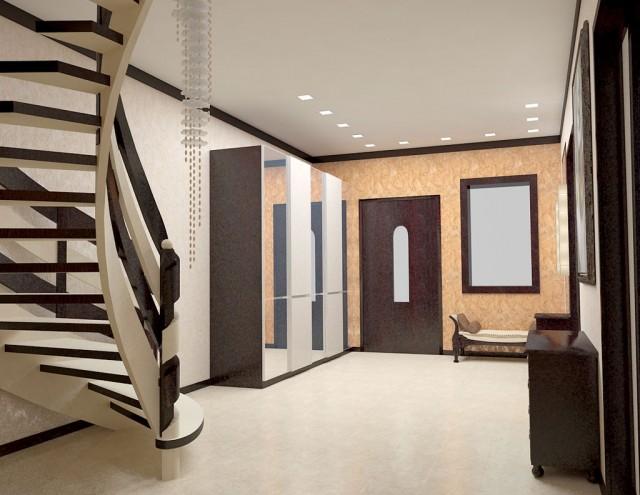 Дизайн полувинтовой лестницы в прихожей. Коттедж в Борщаговке.