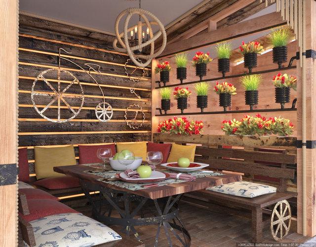 Дизайн ресторана в стиле стимпанк. Летняя площадка